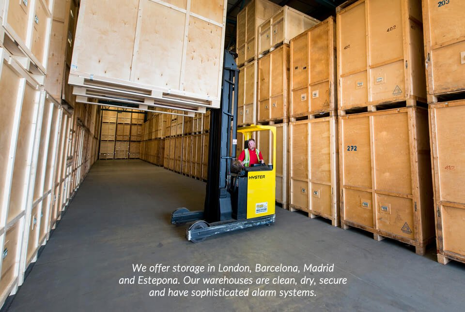We offer storage in London, Barcelona, Madrid and Estepona. Our warehouses are clean, dry, secure and have sophisticated alarm systems