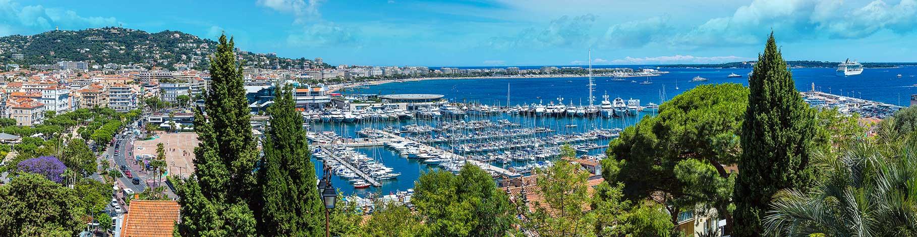 Cannes harbour sea front