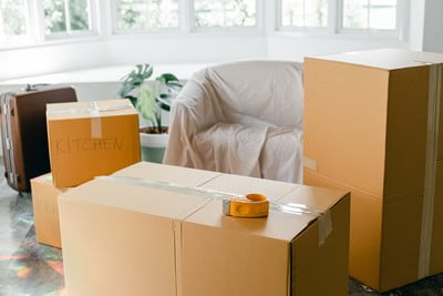 Moving Abroad Packing Tips, Room with boxes