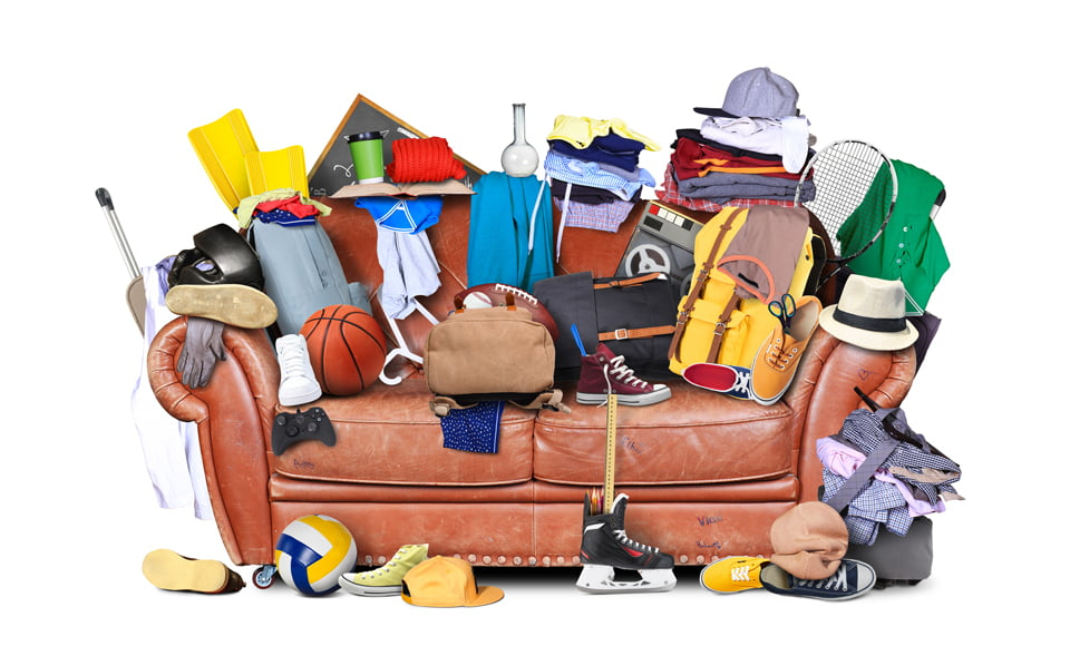Messy Couch with Belongings on