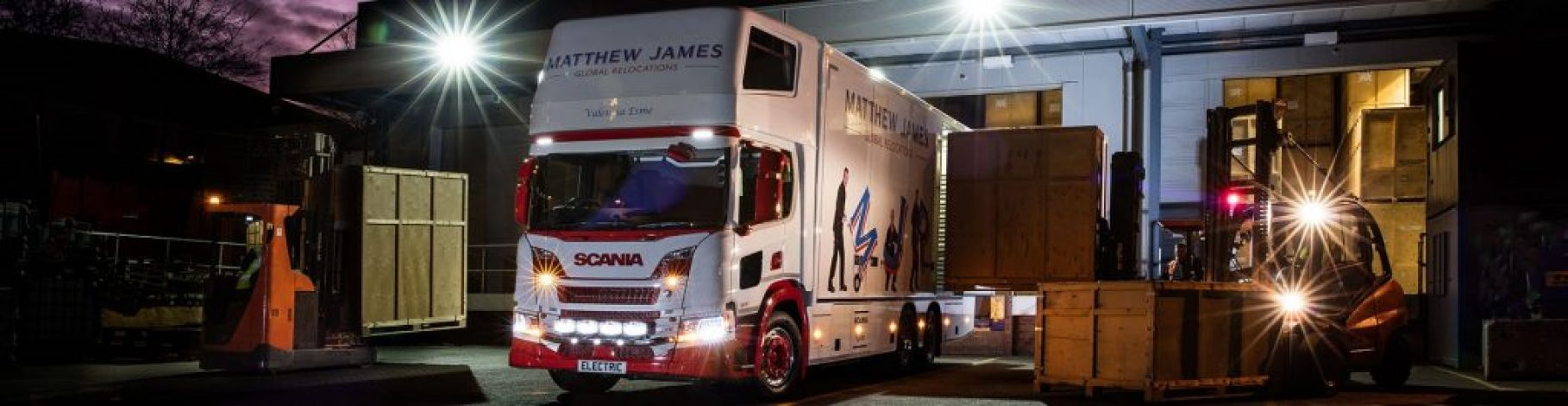 Matthew James Lorry at Depot Night